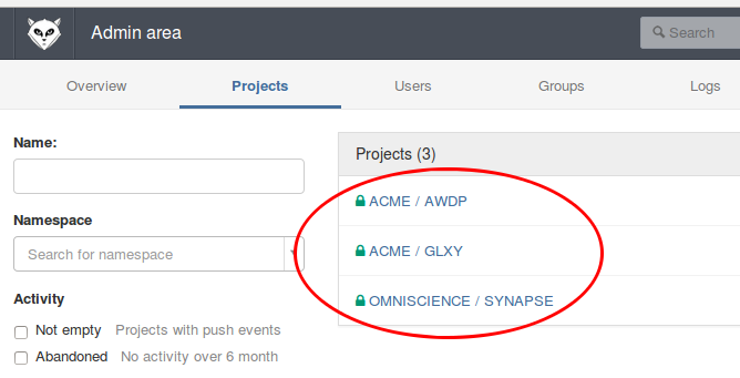 Project provisioning: GitLab
