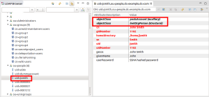 Extended LDAP account with posixAccount attributes and group membership, result in LDAP